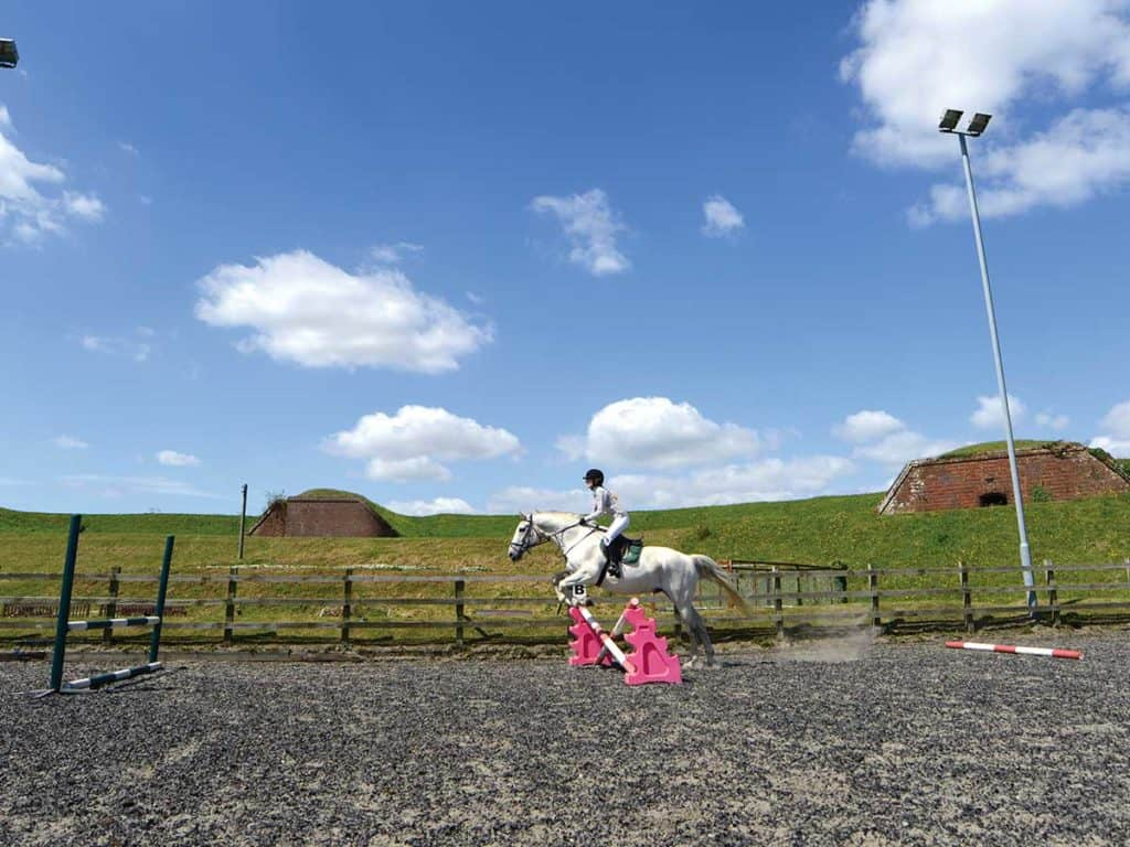 Horse and rider jumping combination fences
