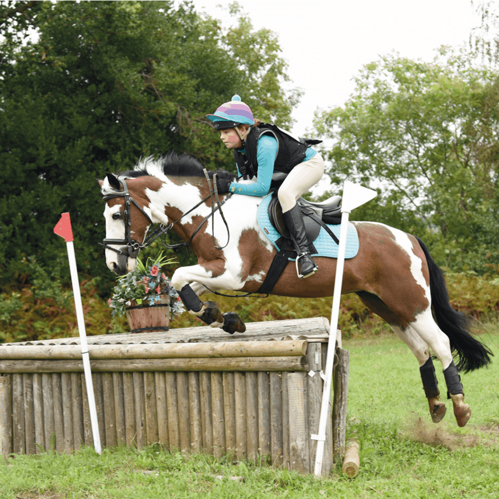 cross-country, jumping a corner fence