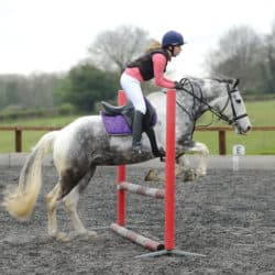 Straight take-off when showjumping