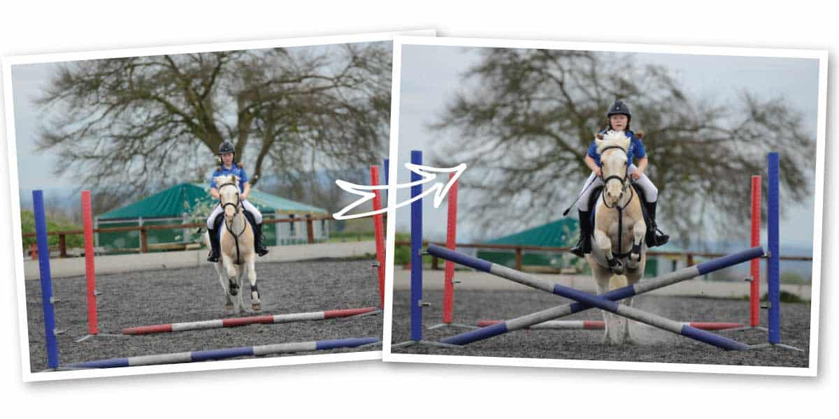 Jumping doubles, use a cross pole first