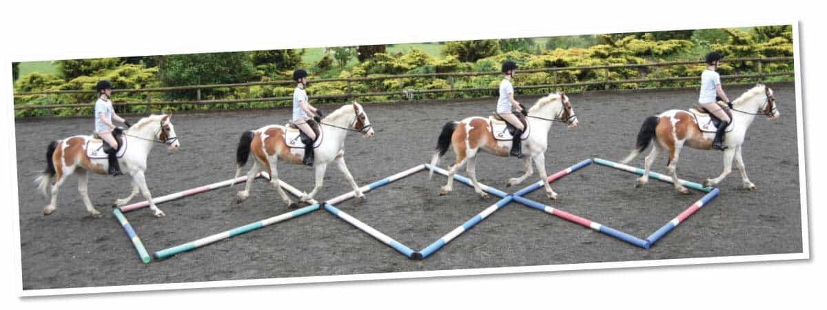 Riding teh diamond polework exercise to improve straightness