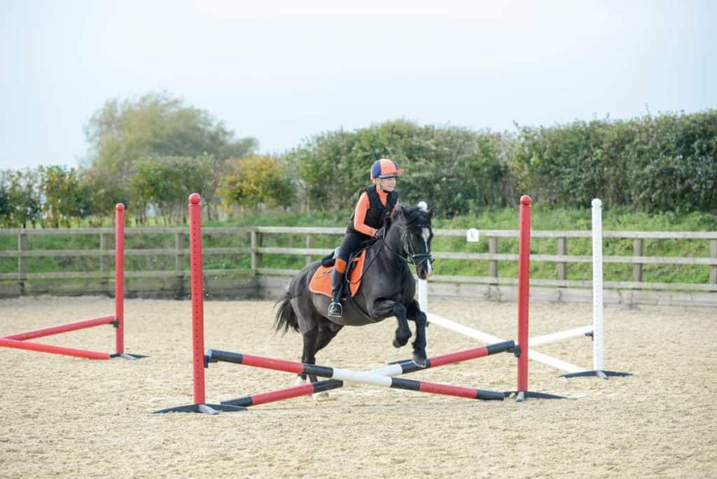 Pony jumping a set up of four cross-poles