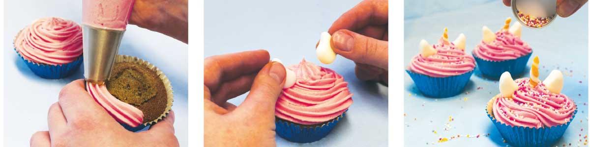 Recipe steps for unicorn cupcakes