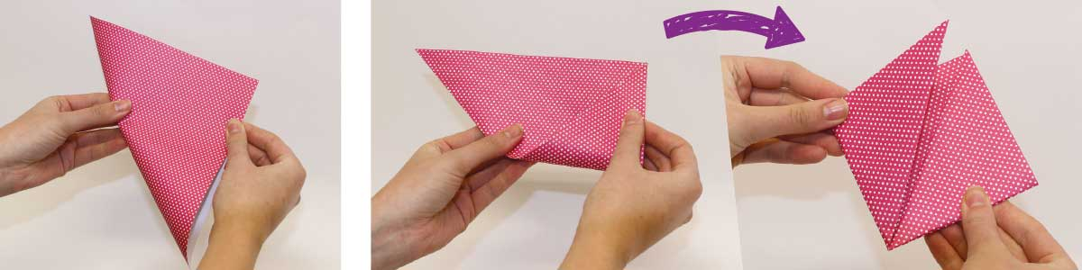 How to make an origami pony bookmark, steps 1 and 2
