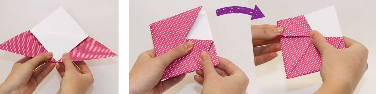 How to make an origami pony bookmark, steps 3 and 4