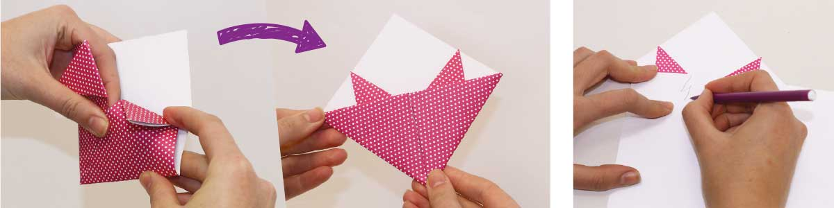 How to make an origami pony bookmark, steps 5 and 6