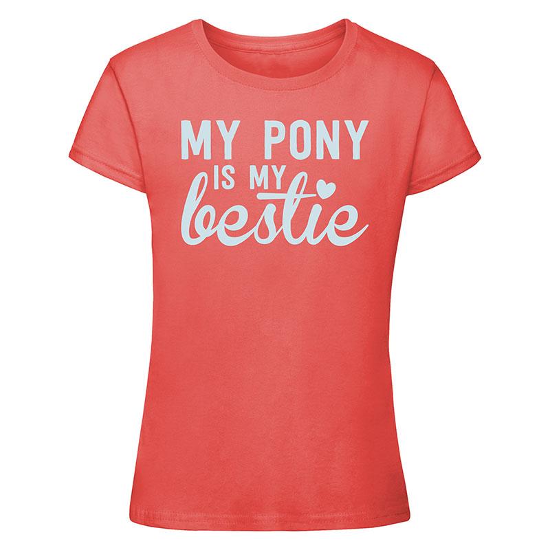 My pony is my bestie t-shirt - coral