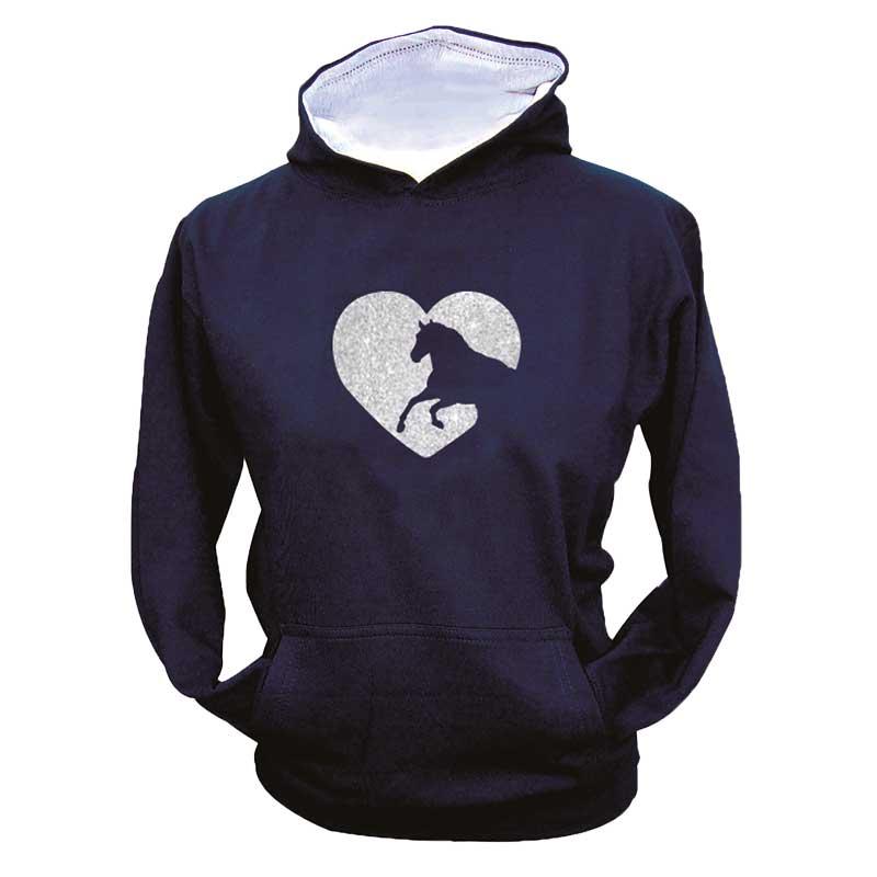 Horse in Heart hoodie - navy