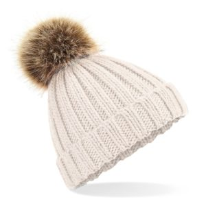 Oatmeal Faux Fur Pom Hat