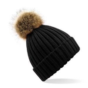 Black Faux Fur Pom Hat